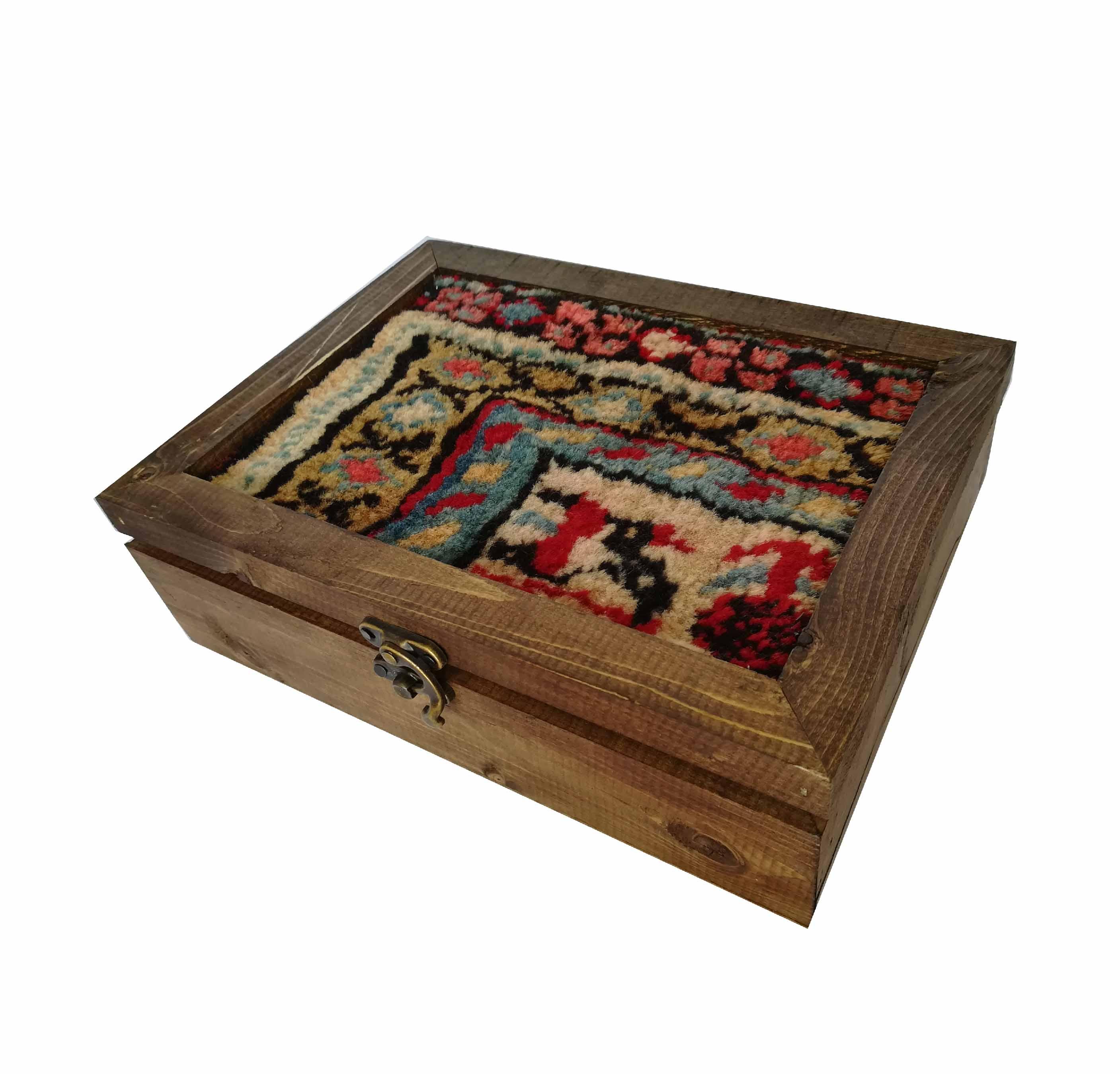 جعبه چوبی فرش مستطیل